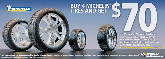 Michelin Offer # P.O. Box Mesa, AZ This rebate must be submitted online by 10/15/18 or form must be post marked no later than 10/15/18 • Purchase must be made at DISCOUNT TIRE by 9/15/18 • Allow up to 4 weeks for delivery • Valid in USA & Canada ONLY Or you may mail ALL of the following REQUIRED items: 1.